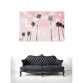 Oliver Gal 'Palm Trees Hearts and Blush'Canvas Art