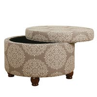 Copper Grove Moonflower Brown Medallion Storage Ottoman