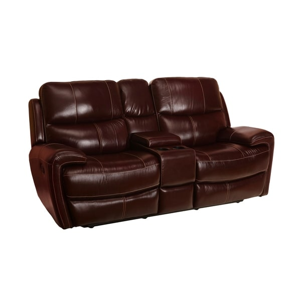 B751 Transitional Reclining Sectional With Storage Console: Shop Murphy Top Grain Leather Reclining Loveseat With
