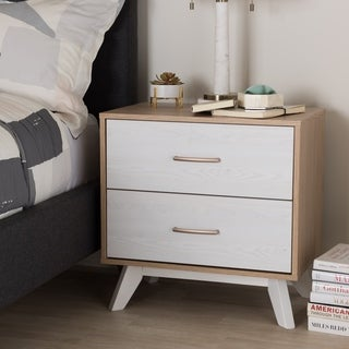 Mid-Century Natural Oak and Whitewashed 2-Drawer Nightstand by Baxton Studio