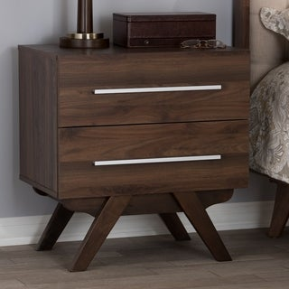 Mid-Century 2-Drawer Nightstand Baxton Studio