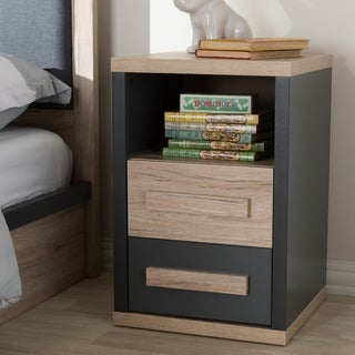 Contemporary Dark Grey and Light Brown Two-Tone 2-Drawer Nightstand by Baxton Studio