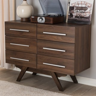 Baxton Studio Brown Mid-century 6-drawer Dresser