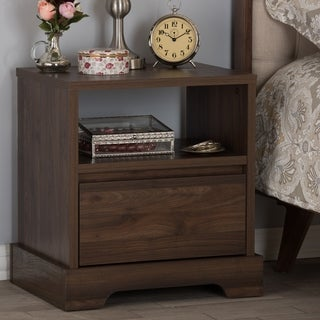 Contemporary Walnut Brown 1-Drawer Nightstand by Baxton Studio