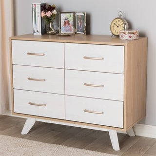 Mid-Century White and Oak 6-Drawer Dresser