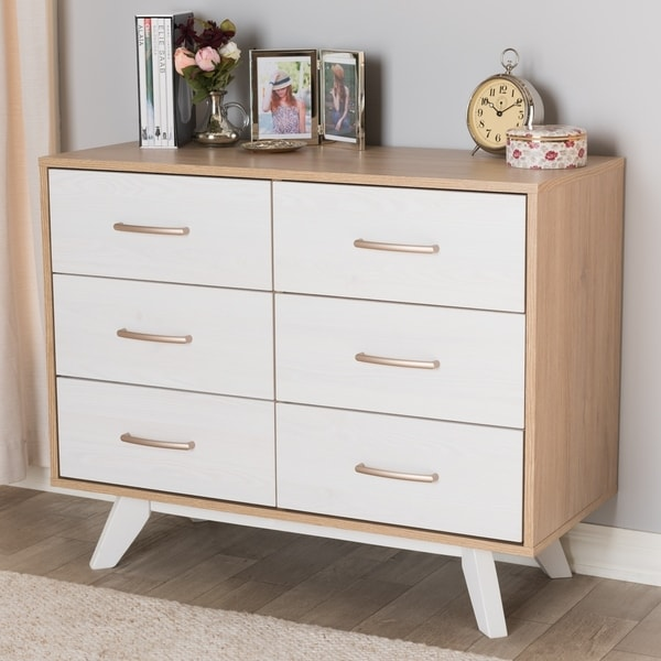 Shop Mid Century White And Oak 6 Drawer Dresser On Sale