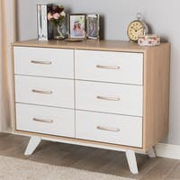 Mid-Century Natural Oak and Whitewashed Finished 6-Drawer Dresser by Baxton Studio