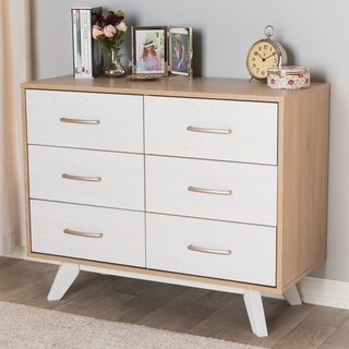 Baxton Studio White Wood 6-drawer Dresser