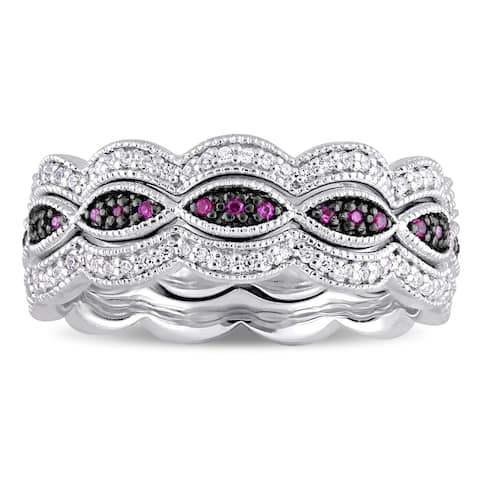 Miadora Sterling Silver with Black Rhodium Plating Created Ruby Created White Sapphire Infinity Stac - Red