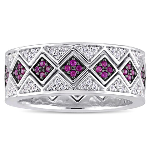 Miadora Sterling Silver with Black Rhodium Plating Created Ruby Created White Sapphire Geometric Sta