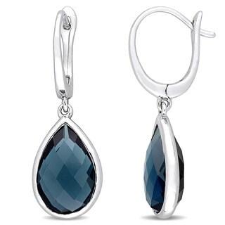 Miadora Signature Collection 14k White Gold London Blue Topaz Teardrop Golden Halo Leverback Earrings