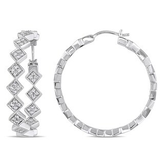 Miadora Sterling Silver White Sapphire Geometric Hoop Earrings