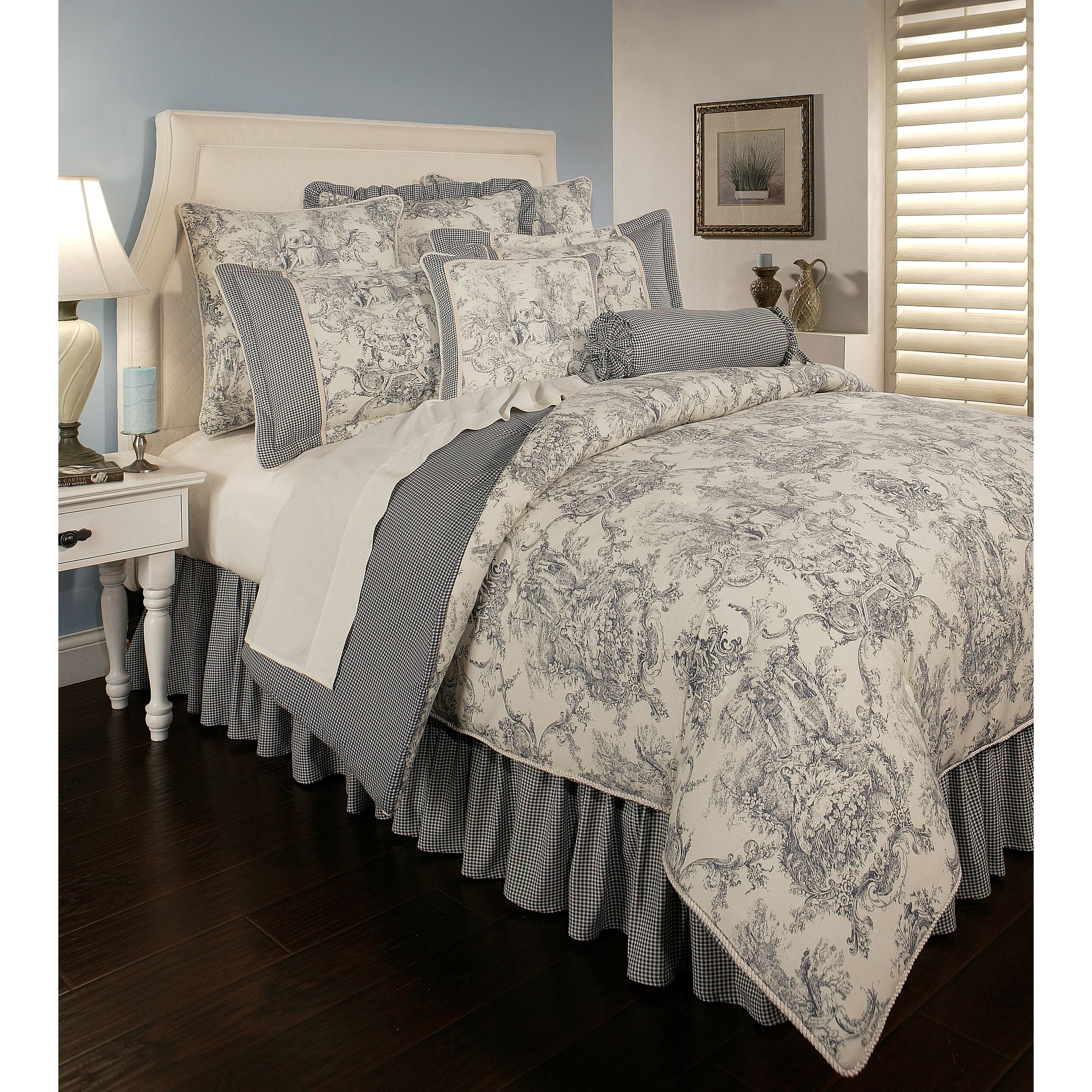 Pchf Country Toile Blue 6 Piece Comforter Set Overstock 18219853