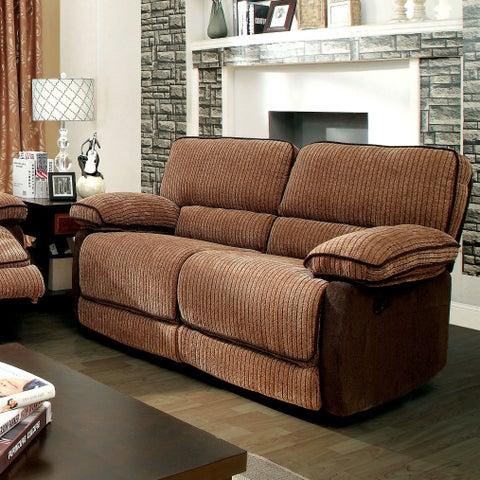 Furniture of America Hazel/Dark Brown Chenille Fabric Recliner Loveseat