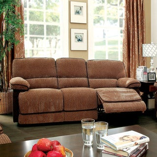 Furniture of America Brown Chenille Recliner Sofa