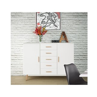 Scandinavian Living Texas Highboard White Wood/Solid Oak Legs Cabinet