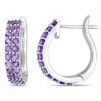 Miadora Signature Collection 10k White Gold Double-Row African-Amethyst Hoop Earrings