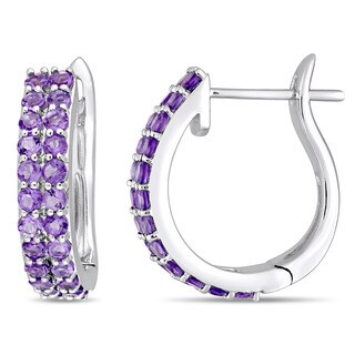 Miadora Signature Collection 10k White Gold Double-Row African-Amethyst Hoop Earrings - Green