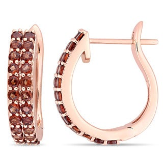 Miadora Signature Collection 10k Rose Gold Double-Row Garnet Hoop Earrings