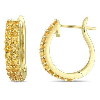 Miadora Signature Collection 10k Yellow Gold Double-Row Citrine Hoop Earrings