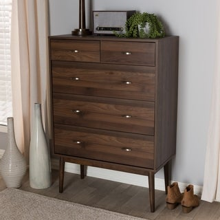 Mid-Century Walnut Brown 5-Drawer Chest by Baxton