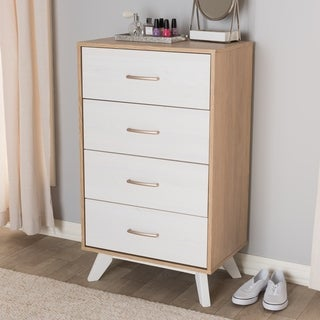 Mid-Century Natural Oak and Whitewashed Finished 4-Drawer Chest by Baxton Studio