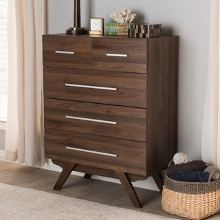 Baxton Studio Mid-century Walnut Brown Wood, MDF 5-drawer Chest