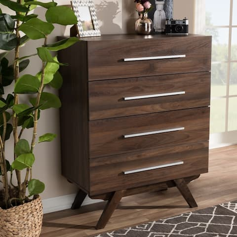 Carson Carrington Varberg Mid-century Walnut Brown 4-drawer Chest