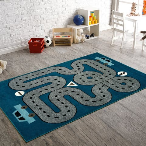"LR Home Whimsical Handsome Highways L.Blue Kids Area Rug (3'6"" x 5'6"") - 3'6"" x 5'6"""