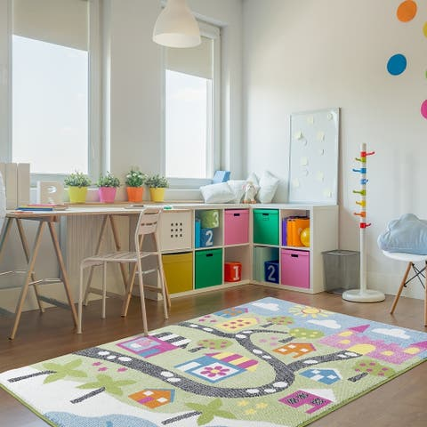 LR Home Whimsical Fairytale Green / Blue Kids Olefin Area Rug - 5' x 7'