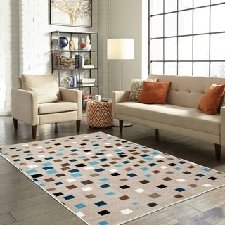 LR Home Whimsical Dashing Squares Light Blue Kids Area Rug ( 5' x 7' ) - 5' x 7'
