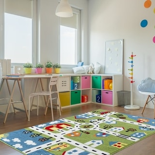 Link to LR Home Whimsical City Green Kids Rug Similar Items in Rugs