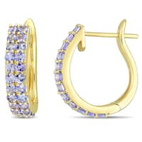 Miadora Signature Collection 10k Yellow Gold Double-Row Purple Tanzanite Hoop Earrings