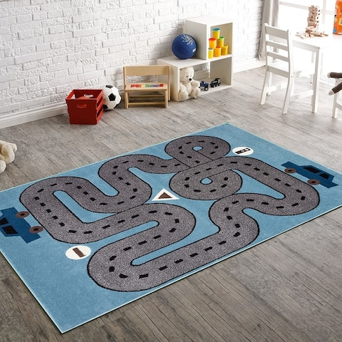 LR Home Whimsical Racing Roadways L.Blue Kids Area Rug ( 5' x 7' ) - 5' x 7'