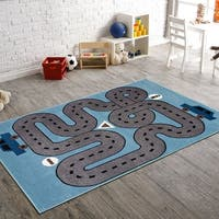 LR Home Whimsical Racing Roadways L.Blue Kids Area Rug - 5' x 7'