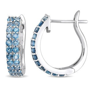 Miadora Signature Collection 10k White Gold Double-Row London Blue Topaz Hoop Earrings