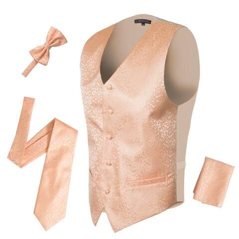 Ferrecci Mens 5 Button Adjustable Paisley Floral Design Vest Set