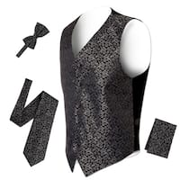Ferrecci Mens 5 Button Adjustable Paisley Floral Design Vest Set
