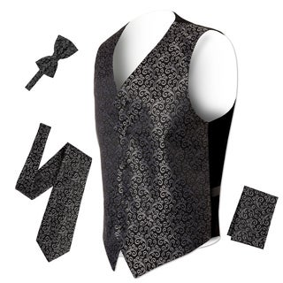 Ferrecci Mens 5 Button Adjustable Paisley Floral Design Vest Set (More options available)