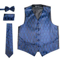 Ferrecci Mens 5 Button Adjustable Woven Design Vest Set