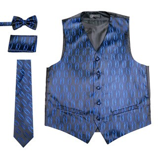 Ferrecci Mens 5 Button Adjustable Woven Design Vest Set (More options available)