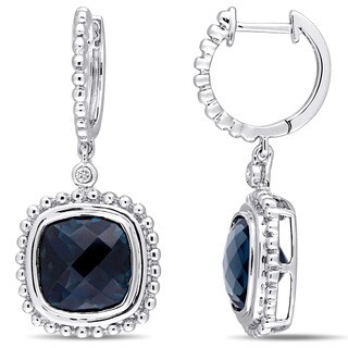 Miadora Signature Collection 14k White Gold London Blue Topaz and Diamond-Accent Beaded Halo Leverback Earrings