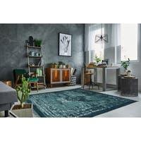 Vintage Wash Dark Green / Mint Cotton Rug - 4'x6'