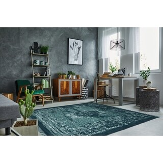 Vintage Wash Dark Green / Mint Cotton Rug (4'x6')