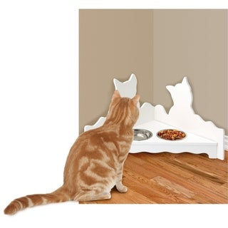 White Corner Cat Feeding Station - Cat Food Bowls Set & Stand - Cat Dishes