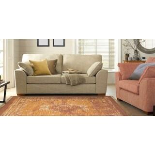 "Vintage Wash Copper/Orange Cotton Rug (5'3""x 7'7"")"