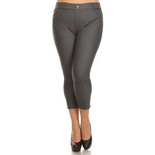 Women's Plus Size Basic 5 pocket Colored Capri Jeggings