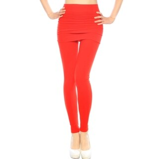 Women's Hi-Waist Yoga Stretch Skirted Leggings - Solid Colored