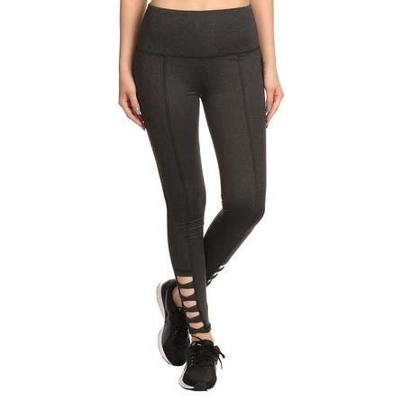 6991295a310 Women s High-Waist Performance Slim Fit Yoga Workout Leggings with Ankle  Cutouts