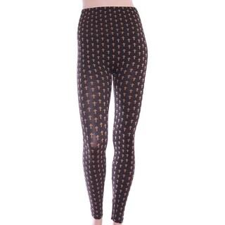 Women's Art Print Monochrome Crosses Hi-Waist Fashion Leggings - Black/White